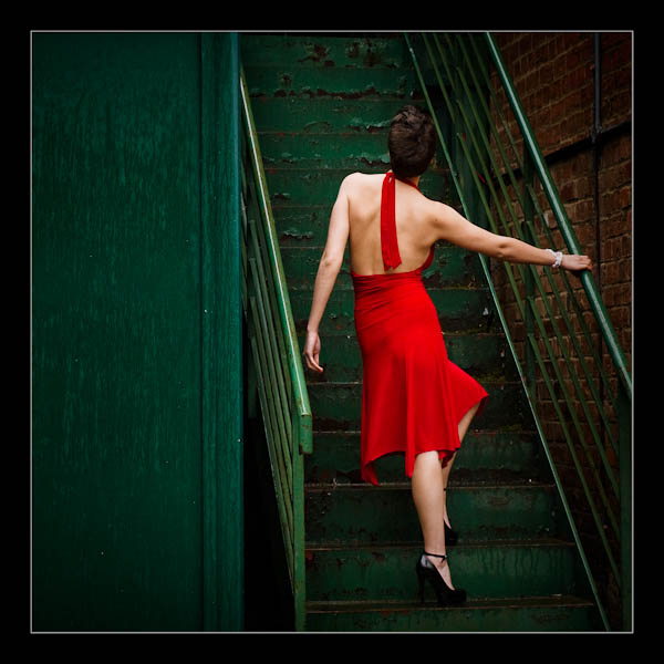 Red dress contrast coaching photography
